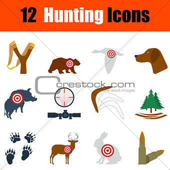 Flat design hunting icon set