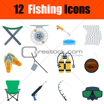 Flat design fishing icon set