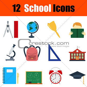 Flat design education icon set