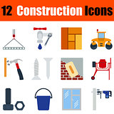 Flat design construction icon set
