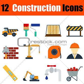 Flat design construction icon set