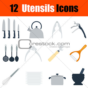 Flat design utensils icon set