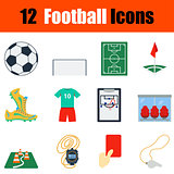 Flat design football icon set