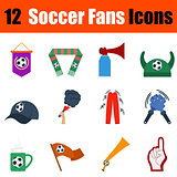 Flat design football fans icon set