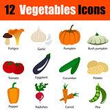 Flat design vegetables icon set