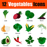 Flat design vegetables icon set