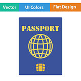 Flat design icon of passport with chip