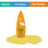 Flat design icon of surfboard