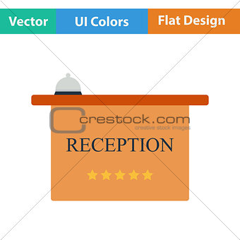 Flat design icon of reception desk
