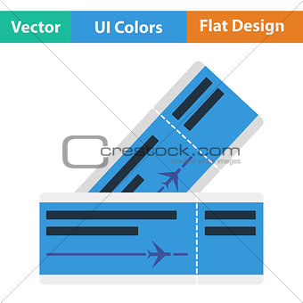 Flat design icon of airplane tickets
