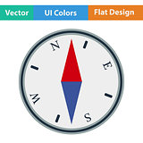 Flat design icon of compass