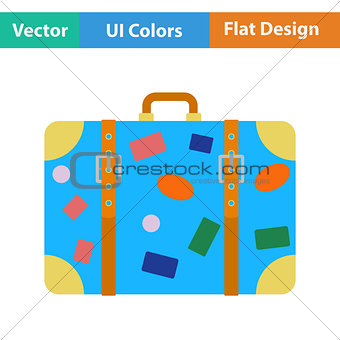 Flat design icon of suitcase
