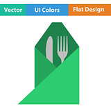 Icon of fork and knife wrapped in napkin