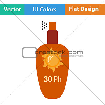 Flat design icon of sun protection spray