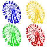 Silhouette atraktsion colorful ferris wheel. Vector illustration