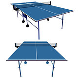 Ping pong blue table tennis. Vector illustration.