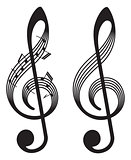 abstract treble clefs, music elements