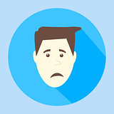 Color vector sad flat icon man face emotion