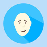 Color vector bald smiling flat icon man face emotion