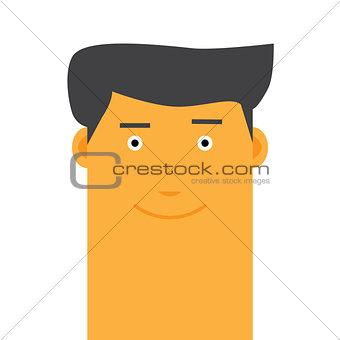 Flat Stylish happy face man avatar vector character