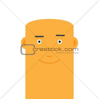 Flat bald joyful face man avatar vector character