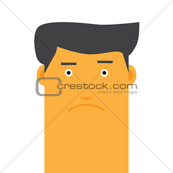 Flat face stylish angry man avatar vector character