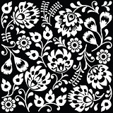 Polish folk art white pattern on black - Wzory Lowickie, Wycinanki