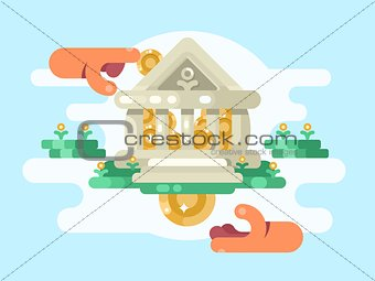 Abstract bank building with coin