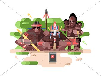 Aboriginal tribe and a smartphone