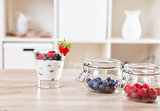 Delicious and healthy yoghurt with fresh berries