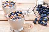 Nutritious and healthy yoghurt with blueberries and cereal
