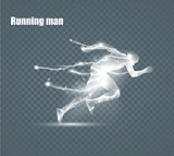 Running Man, flying lightning, vector illustration.