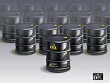 big group of black new oil barrels. vector