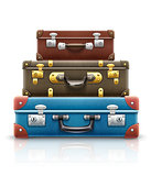 Old retro vintage suitcases bags for travel