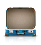 Open old retro vintage suitcase for travel