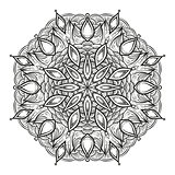 Black and white circular pattern. Round kaleidoscope