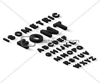 Black isometric font alphabet