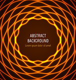 Abstract orange circle wavy border background with light effects