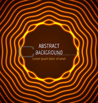 Abstract orange circle border background with light effects