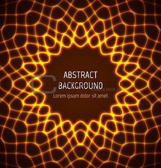 Abstract orange circle neon border background with light effects