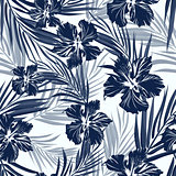 Tropical seamless monochrome blue indigo camouflage background with leaves and flowers