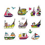 Set of ships, sketch for your design