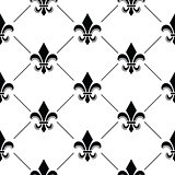 French Damask background - Fleur de lis black pattern