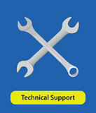 technical support vector symbol sign with wrench and blue background