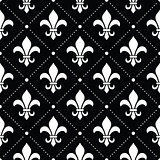French Damask background - Fleur de lis white pattern on black
