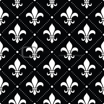 French Damask background - Fleur de lis white pattern on black