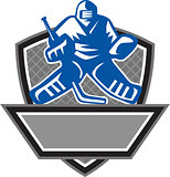 Ice Hockey Goalie Crest Retro