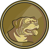 Rottweiler Guard Dog Head Gold Medallion Retro