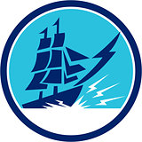 Tall Sailing Ship Lightning Bolt Circle