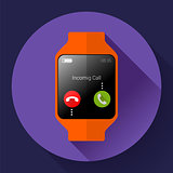 Modern smart watch icon. Flat design style